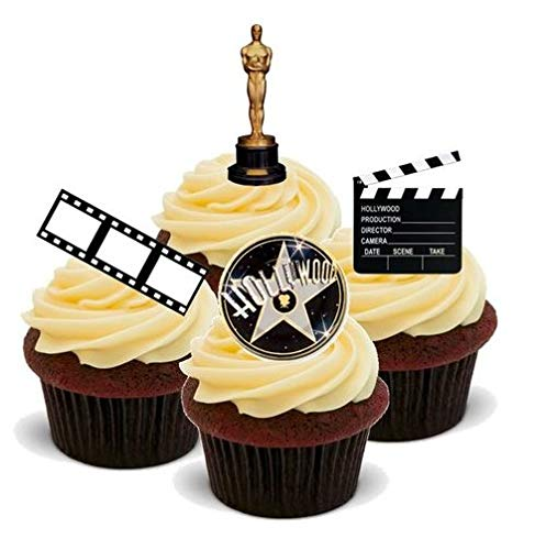 FILM KAMERA ACTION HOLLYWOOD MUSTERMISCHUNG - - 12 essbare hochwertige stehende Kuchen Toppers - Hollywood Style Mix Film Camera Action