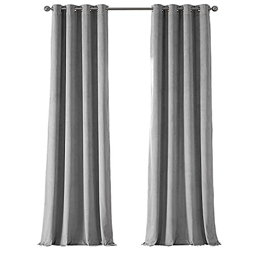 HPD Half Price Drapes VPCH-145002-96-GRBO Signature Grommet Blackout Velvet Curtain (1 Panel), 50 X 96, Silver Grey