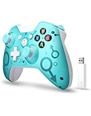 [2021 Newest Version] Wireless Controller, W&O Wireless PC Gamepad with 2.4GHZ Wireless Adapter, Compatible with Xbox One/One S/One X/P3 Host/Windows 7/8/10 (Blue)