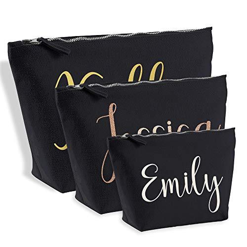Personalised Name Make Up Bag Washbag Travel Birthday Valentines Christmas Present Gift New (Medium (26 x 12 x 9cm), Black)