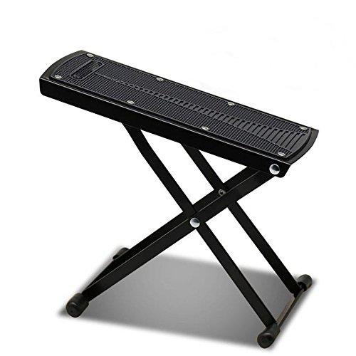 MINGZE Poggiapiedi da chitarra, poggiapiedi regolabile a 6 posizioni regolabili, supporto in metallo di alta qualità e pedale in gomma antiscivolo (Nero)