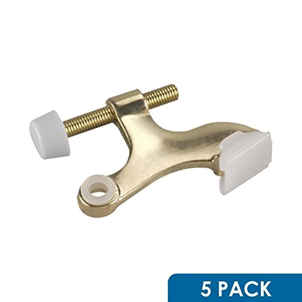 5 Pack Rok Hardware Heavy Duty Hinge Pin Door Stop, Brass ROKDSP1B