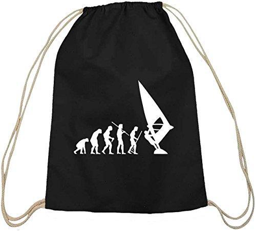Shirtstreet24, EVOLUTION WINDSURFEN, Windsurfer Baumwoll natur Turnbeutel Rucksack Sport Beutel, Größe: onesize,schwarz natur