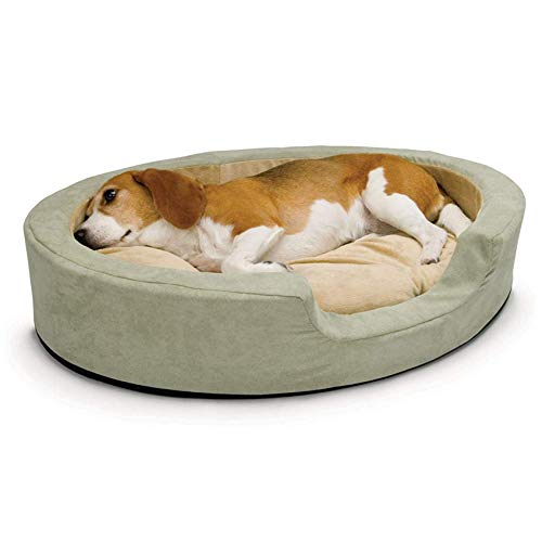 K&H PET PRODUCTS 1923 Thermo-Snuggly Sleeper Heated Pet Bed Large Sage 31' x 24' 6W