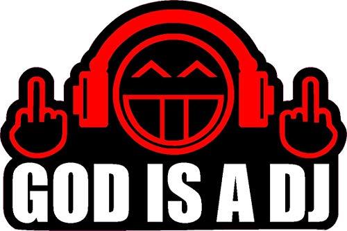 NetSpares 119542223 1 x Aufkleber God is a DJ Shocker Autoaufkleber Sticker Tuning Turbo Fun Gag Dub