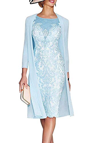 GMAR Women's Chiffon Tea Length Lace Mother Of The Bride Dresses With 3/4 Sleeves Jacket 20 Sky Blue