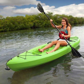 Sit on Top Kayak, Lifetime Tamarack 10', Lime Green, Comfortable Back Rest, Durable, Lightweight with 2 Piece Paddle