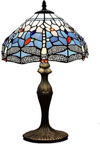 DIMPLEYA Lámpara De Mesa Retro Tiffany Resina Style * Pintura Gema Cristal Adorno D30 H46cm