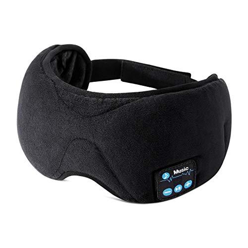 ESR Antifaz para Dormir con Auriculares Bluetooth 5.0, Máscara 3D de Ojos con Altavoces Estéreo Ultrafinos HD, Diadema Lavable y Ajustable, para Deportes, Sueño, Siesta, Yoga y Viajes Aéreos, Negro
