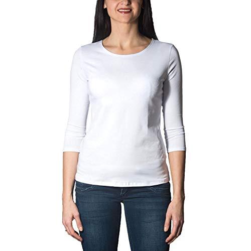 Alkato Damen Shirt 3/4 Arm mit Rundhals, Farbe: Weiß, Größe: S