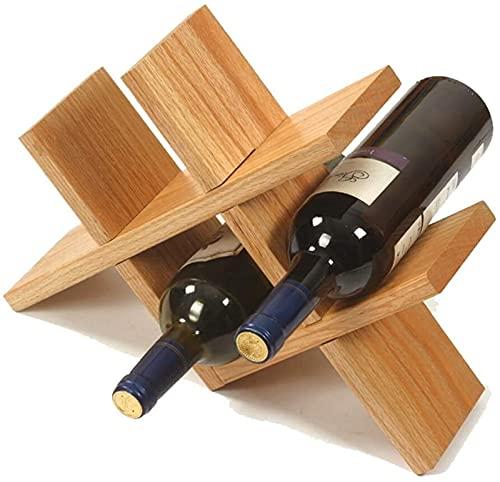 Estante de Vino de Moda Estante de Vino Creativo Vino Estante para el hogar decoración práctica Vino Estante Sala de Estar gabinete de Vino exhibición Estante sólido producción de Madera (Color : B)