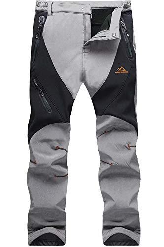 MAGCOMSEN Ski Pants Men Waterproof Pants Snow Pants Softshell Hiking Pants Mens Winter Pants Outdoor Fleece Lined Pants