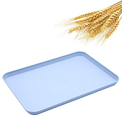 Dinner Tray, Unbreakable Lunch Tray, Decorative Food Serving Tray, Coffee Table Tray, Wheat Straw Tray Tea Platter for Couch, Party, Dining, Picnic, Snack, Appetizer (Blue)