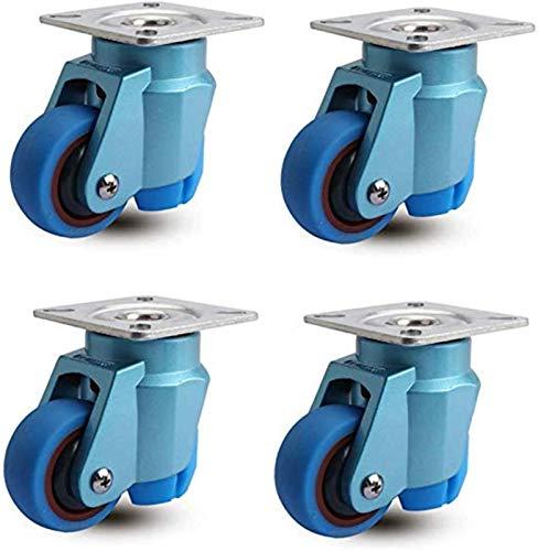 4pcs muebles, ruedas con ruedas de goma para uso pesado 2 pulgadas de freno giratorio universal de 50 mm de silencio de 50 mm 200kg para collección de trolley rodillos de nivelación a largo plazo azul
