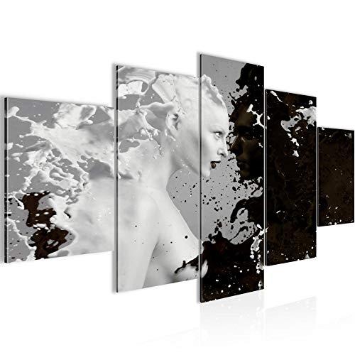 Bilder Milk & Coffee Wandbild 200 x 100 cm Vlies - Leinwand Bild XXL Format Wandbilder Wohnzimmer Wohnung Deko Kunstdrucke Schwarz Weiß 5 Teilig - MADE IN GERMANY - Fertig zum Aufhängen 301851a