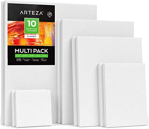 Arteza Stretched White Blank Canvas Multi Pack, 4x4', 5x7', 8x10', 9x12', 11x14' (2 of Each) Set of 10, Primed, 100% Cotton, for Acrylic, Oil, Other Wet or Dry Art Media, for Artists
