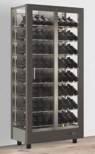 Teca Vino, estructura de aluminio, bandas magnéticas para la aplicación de la funda, vitrina,