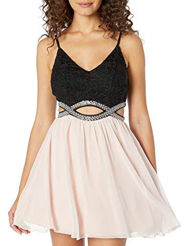 Speechless Women's Party Dress with Peek-a-Boo Jeweled Waist, Black, 5 (Apparel)