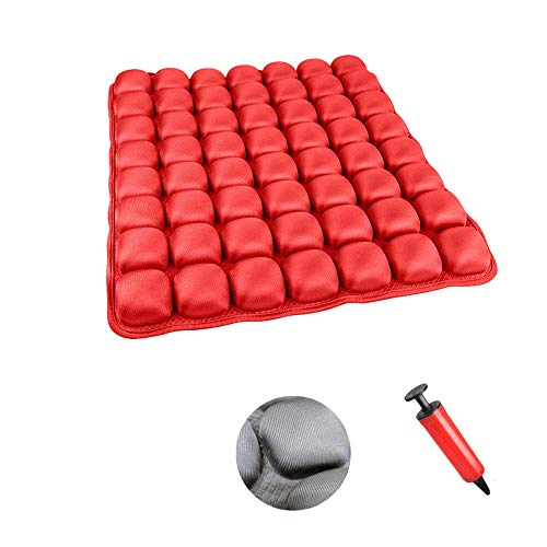 Inflatable Air Seat Cushions Portable Breathable Comfort Cushion Car Seat Office Chair Wheelchair Pad Orthopedics Pain Pressure Relief Cushion Camping Seat Mat (Color : Red, Size : Back Cushions)