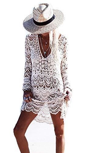Ulalaza Damen Badeanzug Cover Up für Strand Pool Bademode Crochet Kleid Gr. onesize, Zs297whi