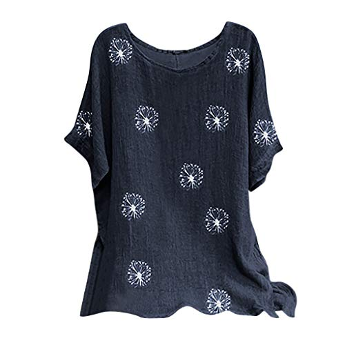 iHHAPY Women's Linen Blouse Summer Tops Short Sleeve T-Shirt Loose Tops 2020 New Floral Pattern Print Tunic Top Shirt