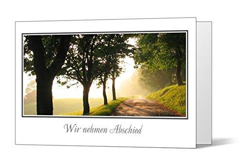 10 x Trauerkarten Waldweg - Quer- Klappkarten im Set mit passenden Umschlägen - Karte zur Kundgebung des Trauerfalls - Trauer, Beerdigung, Sterbefall, Friedhof, Begräbnis