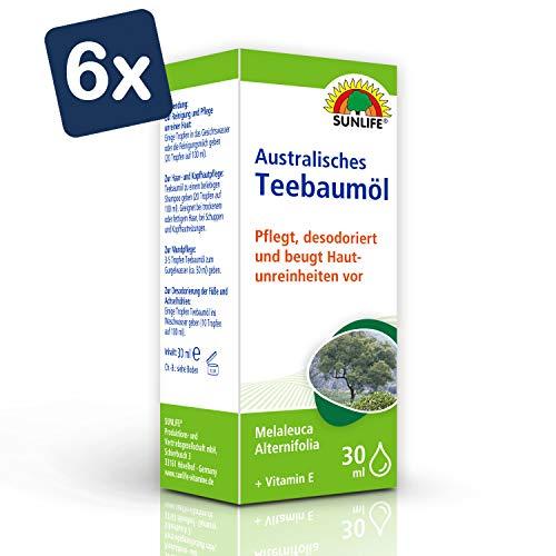 SUNLIFE Australisches Teebaumöl: Haar- und Hautpflege, mit Vitamin E, pflegt, reinigt und desodoriert, 30ml - 6er Pack