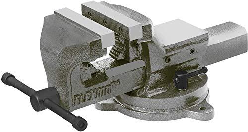 FLEXMO | Profi Schraubstock 125mm | Tischschraubstock für Werkbank | Parallel-Schraubstock | 360° drehbar | aus Gusseisen geschmiedet | inkl. Rohrspannbacken | Qualität von Kögl