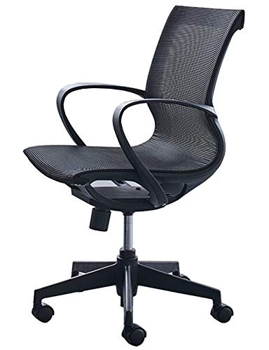 Swivel Mesh Mid-Back Computer Desk Chair with Breathable Skin-Friendly Mesh Office Desk Chair with Adjustable Lumbar Support, Black, Blue