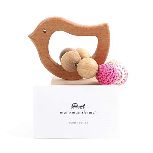 Mamimami Home Baby Beißring Natürliche Holz Beißring Pflege Häkeln Perlen Aus Holz Olivenöl Vogel Rassel Spielzeug Bio Baby Spielzeug