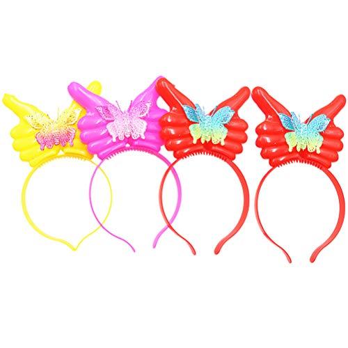 Abaodam 4 piezas Glow Hair Hoop Creative Shape Pin (rojo amarillo rosado)