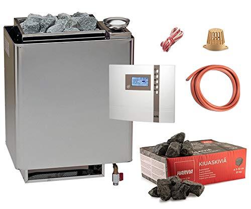 Bio-Saunaofen Set EOS Bi-O Mat Saunaofen mit EOS Econ H2 Saunasteuerung, Temperaturfühler, Kabel und Saunasteine (9 kW für 8-14m³)