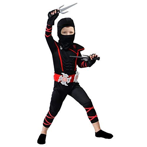 Brwoynn Halloween Ninja Deluxe Costume for Kids with Ninja Foam Accessories Toys (Large) Black