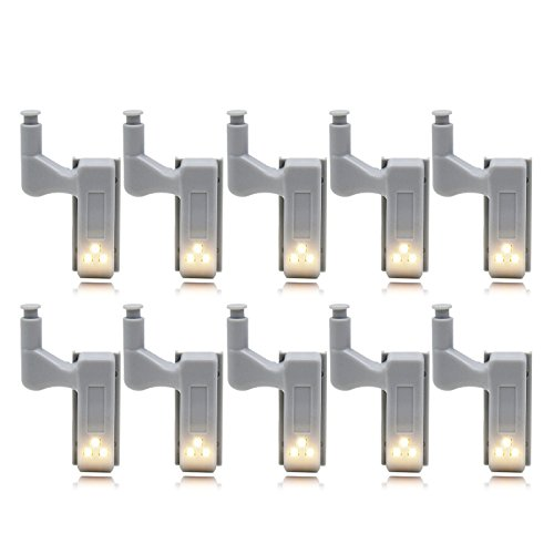 Metermall Home 10Pcs LED Smart Touch Induction Cabinet Light Cupboard Inner Hinge Lamp Sensor Light Night Light for Closet Wardrobe Warm white light 10pcs without battery