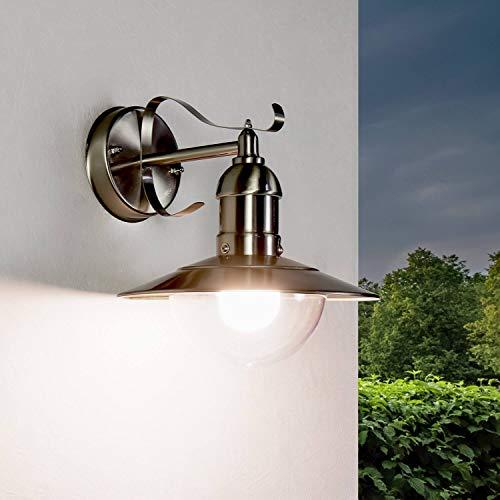 Lámpara de pared rústica en plata, IP44, acero inoxidable, diseño marítimo, E27, lámpara de pared exterior, casa, patio, balcón