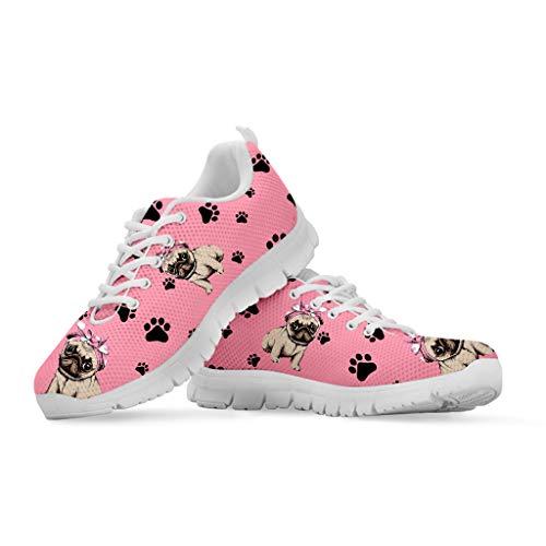 Coloranimal Cute Pet Mops Hund Muster Frauen Rosa Turnschuhe Sport Laufen Joggen Air Mesh Walking Schuhe Damen Schnür Casual Trainer Wohnungen EU38