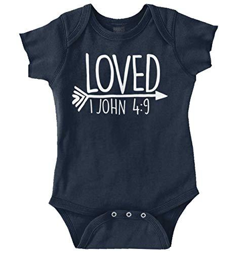 Loved John 4:9 Christian Arrow Baby Bodysuit Jumper Girls