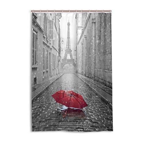 FANTAZIO Duschvorhang Eiffelturm Blick von der Straße von Paris Polyester Badvorhang mit dicken C-förmigen Haken für Badezimmer, wasserdicht, 1 Stück, 121,9 x 182,9 cm