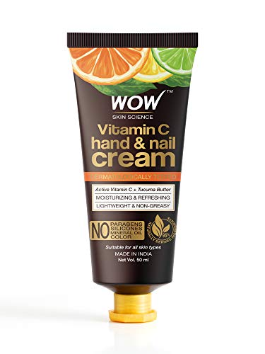 WOW Skin Science Vitamin C Hand & Nail Cream - Moisturizing & Refreshing - Lightweight & Non-Greasy - Quick Absorb - For All Skin Types - No Parabens, Silicones, Mineral Oil & Color, 50 ml