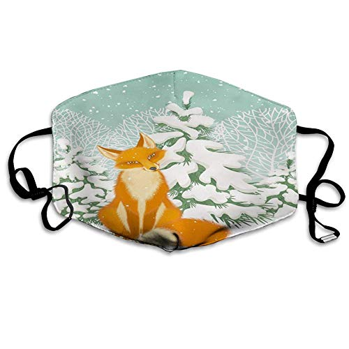 Fuchs, Rotfuchs Sitzen im Winterwald Schnee ed Kiefern Weihnachten Cartoon Gesichtsmaske Sturmhaube waschbares Tuch...