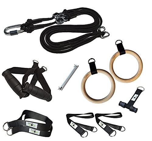 BodyCROSS Premium Schlingentrainer für zuhause mit Türanker, Poster & Trainingsplan | Krafttraining Made in Germany | geprüft & Zertifiziert | Slingtrainer Set mit Turnringen | 10 Jahre Garantie