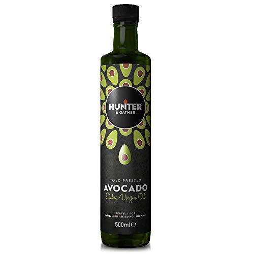 Hunter & Gather Oils Avocadoöl Kaltgepresst, 100% Rein, 500ml, Zum Braten Und Grillen, Für Dips, Dressings Und Marinaden