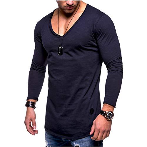 WSLCN Homme T-Shirt en Coton Manches Longues Col en V Basic Casual Shirt Fitness Sports Gym Running Chemise Elastiques Respirant Tee Shirt Couleur Unie Bleu Marine Poitrine 40.2\