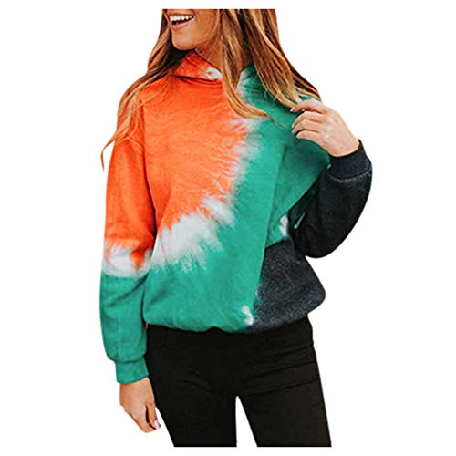 Fudule Women Pullover Sweatshirt,Womens Gradient Color Block Tie Dye Sweater Tops Long Sleeve Loose Pullover Sweatshirts Orange