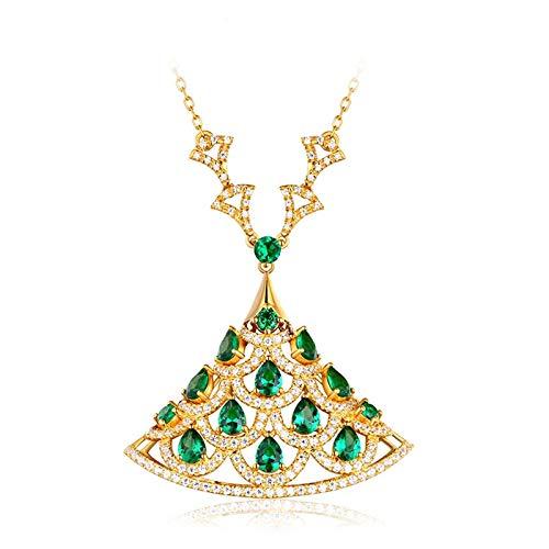 AueDsa Ciondolo Oro Collana Donna 18K Oro 750 Coda di Pavone con Smeraldo 1.62ct