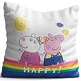 Kinder Kuschel-Kissen Peppa Wutz Pig rosa lila blau weiß Happy 40 x 40 cm Kissen Kuschelkissen...