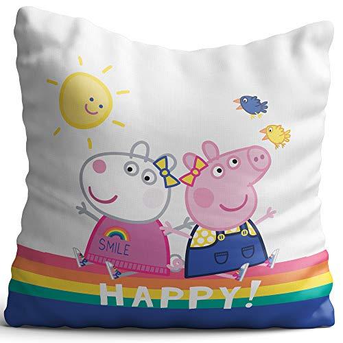 Kinder Kuschel-Kissen Peppa Wutz Pig rosa lila blau weiß Happy 40 x 40 cm Kissen Kuschelkissen Dekokissen Zierkissen Autokissen Reisekissen Regenbogen Sonne gelb grün George passend zur Bettwäsche