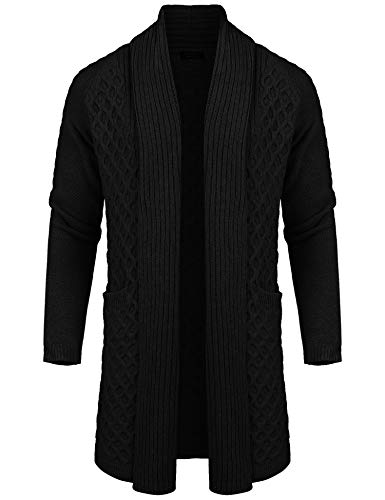COOFANDY Mens Casual Knit Cardigan Linen Long Sleeve Shawl Collar Sweater Jacket Black