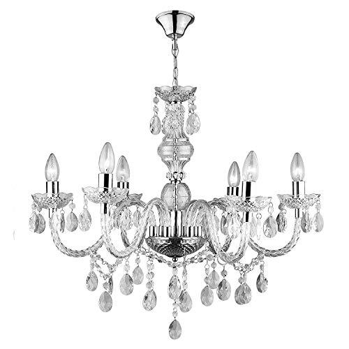 lampadario soggiorno vetro Lampadario In Vetro Cristallo Con 6 Punti Luce