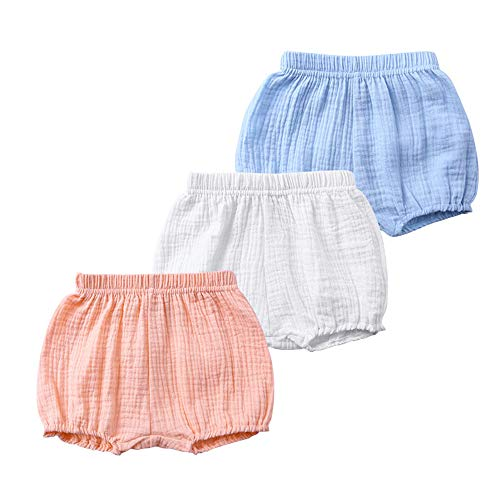 Kids Tales 3 Pack Little Boys Girls Cotton Linen Bloomers Shorts Baby Bloomers
